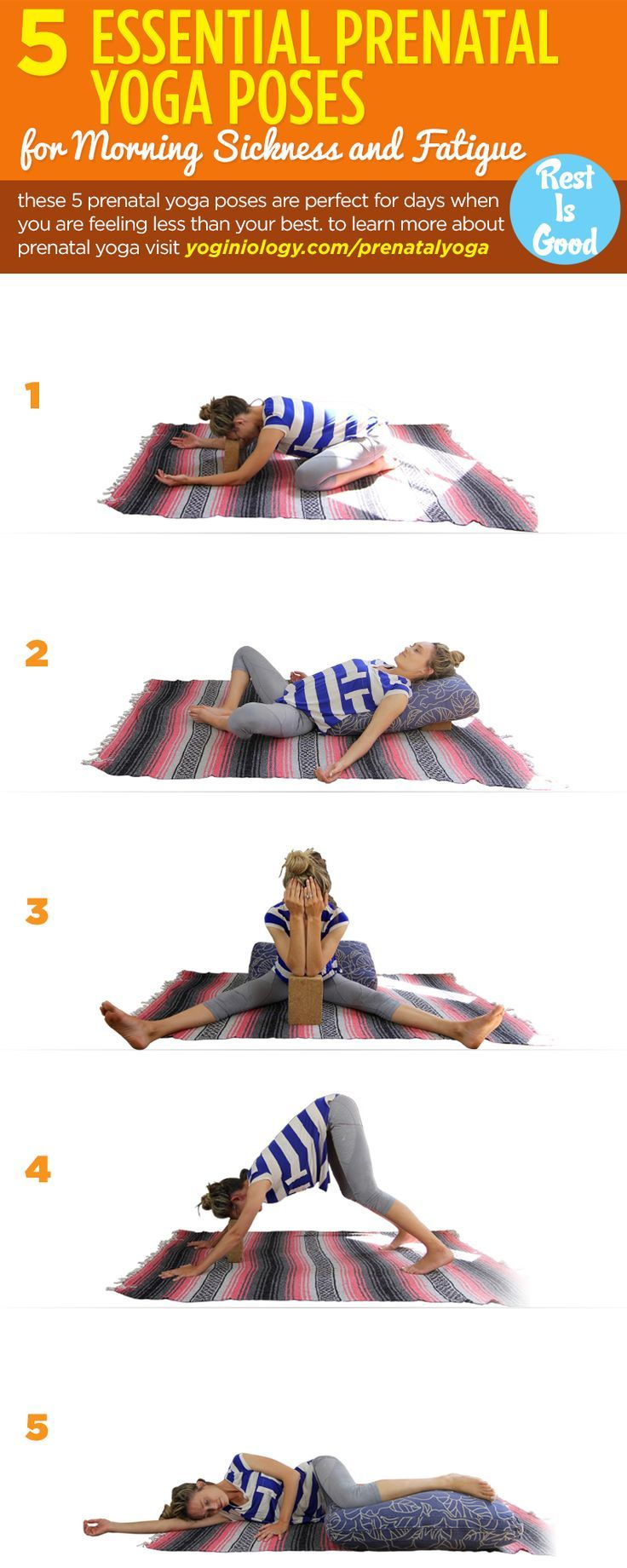 If pregnancy is leaving you feeling nauseous and exhausted, these five yoga poses can help at any trimester! Using a yoga block and bolster (or just sofa cushion) can help support you and apply pressure for instant relief!   To learn more about prenatal y