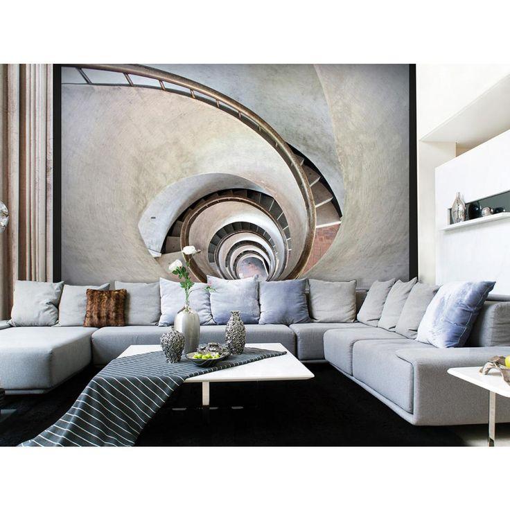 Fotomural con la escalera de caracol - ve el diseño de interiores con el motivo decorativo de pared original #fotomurales #escalera #fotomural #decoraciones #home #adornos #diseno #arreglo