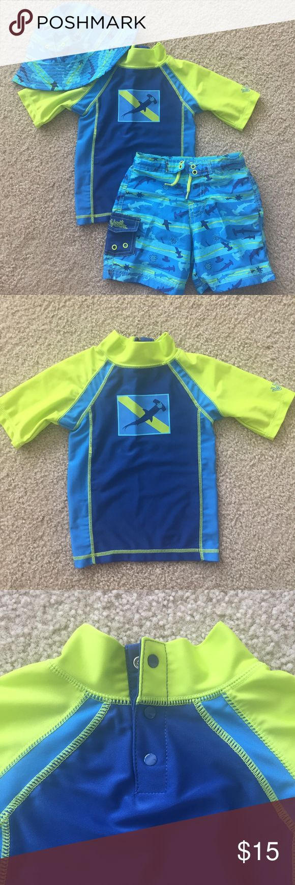 UV Skinz Rashguard, Trunks&Hat Set 🍍JUST IN TIME FOR SUMMER🍍  Toddler SwimWear Set!!!!   Short-Sleeve Rash Guard with three snaps at back of neck for easy on & off.  Fun Shark print Matching reversible sun hat to protect your little mans face  Excellent Used Condition.  Only used a few times for one summer UPF 50+ Protection UV Skinz Swim