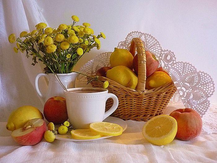 Открытки с фруктами и цветами с добрым утром, любовные