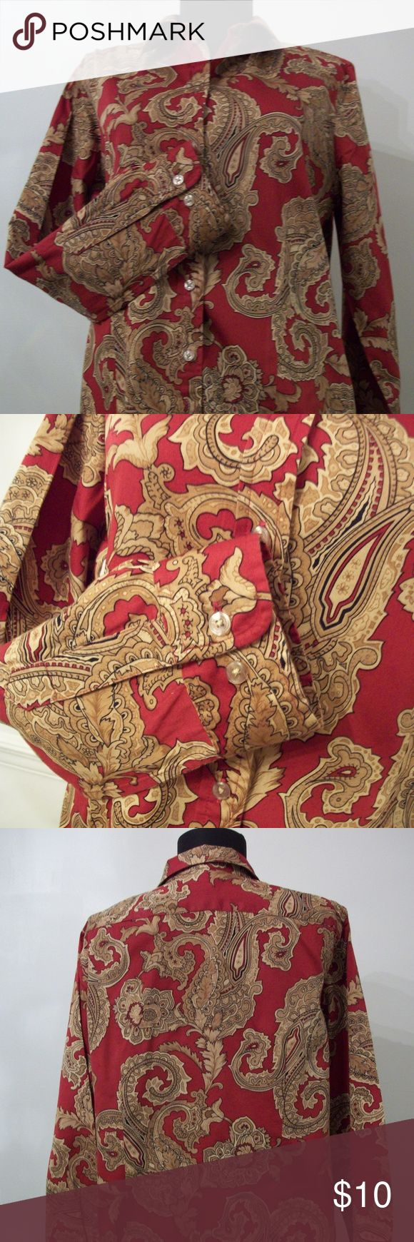 "Jones New York Signature Misses Petite Shirt Jones New York Signature Misses Shirt in excellent, gently worn condition. 100% Cotton. Burgundy shirt with Paisley motif pattern accents in shades of old and brown gold. Measurements; Shoulder to Shoulder 15"", Sleeve length 23"", measurements from collar from the top of the hem 25"", bust measurements 38"". Bust measurements taken while shirt was laid flat on hard surface.  Size PL (14P - 16P). From a smoke free, pet free home. Jones New York Tops…"