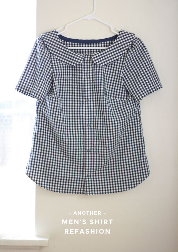 Used Colette Laurel Pattern to Refashion a Mans shirt. Gingham Shirt Refashion