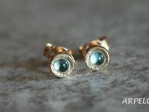 ♥ Niebieski topaz- 585 kolczyki złote ARPELC