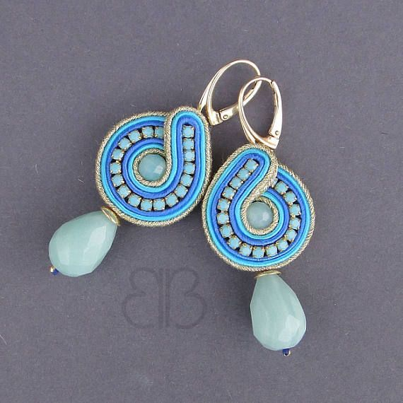 Azzuro earrings soutache with blue natural amazonite