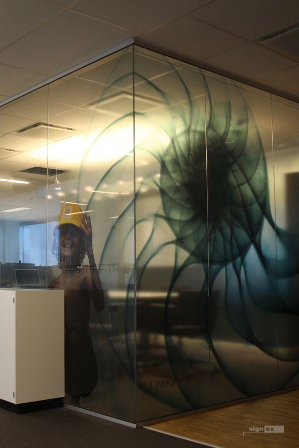 Glass film meeting room, transparent image