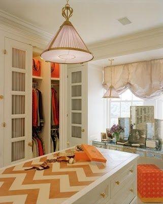 Tory Burch's orange and white closet: Closet Doors, Dreams Closet, Window, Tory Burch, Islands, Chevron Tops, Dresses Rooms, Chinoiserie Chic, Burch Closet