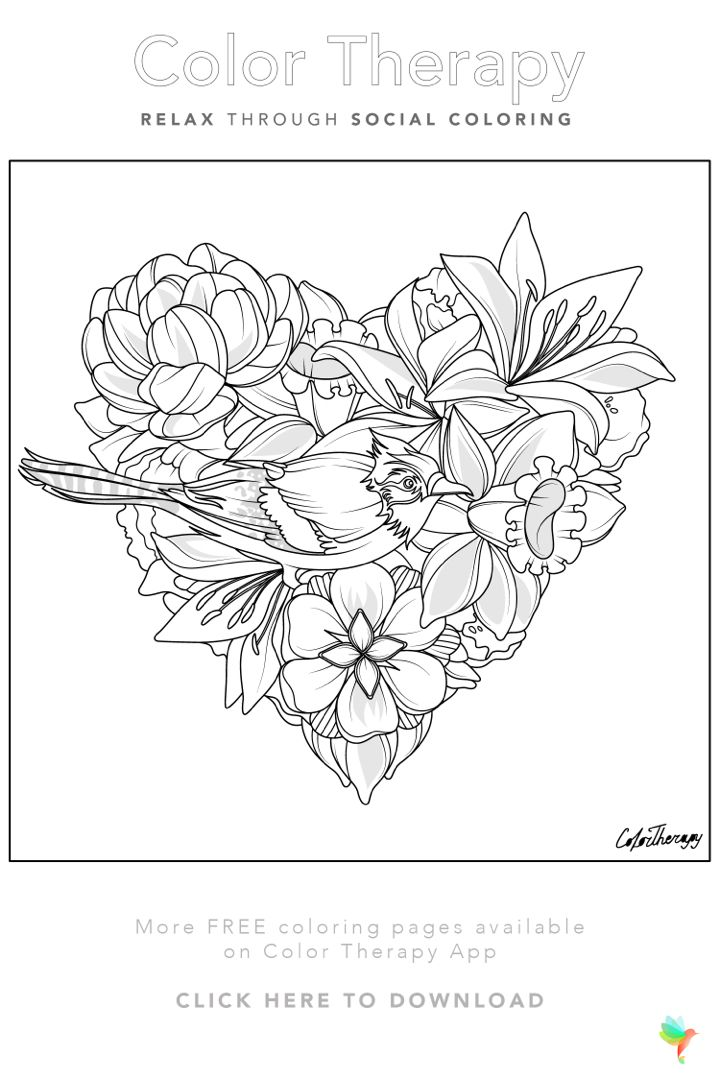 Color Therapy Gift Of The Day Free Coloring Template Coloring Book Art Coloring Books Color Therapy