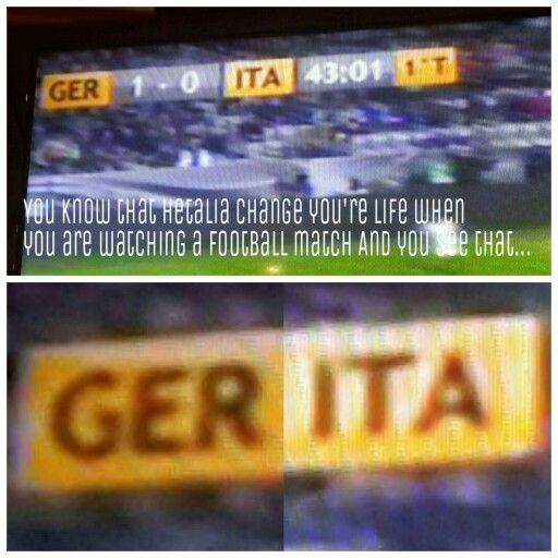 """And You scream because your ship is on the tv. My dad looked at me suprised because he thought that i screamed because italy was losing the match (i'm italian) And He was like """"wow .. i always thought that You hate football""""... <<  i'm german and i like laughed my ass off xD especially because the media hashtag for that match was also #GERITA so i imagined just football loving people searching for gerita and then being mentally scarred for the rest of their lives :""""D"""