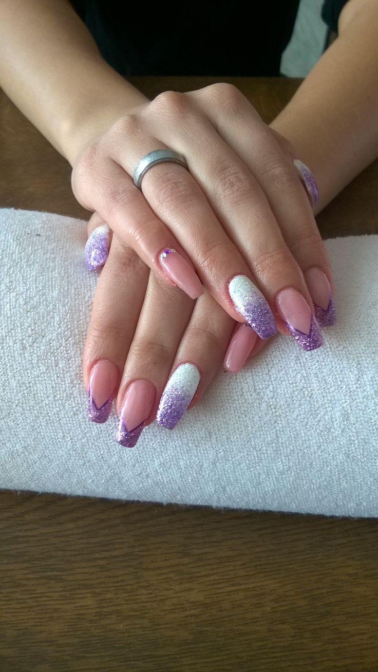 french manicure, white and purple glitter