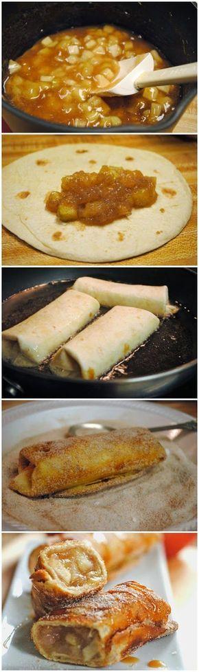 Cinnamon Apple Dessert Chimichangas ~ Muchtaste