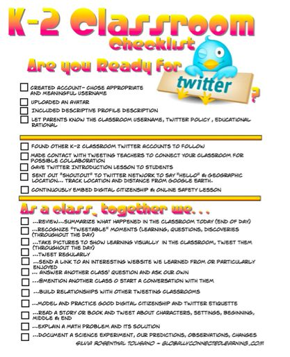 K-2 Classroom Checklist for Twitter. Could easily be modified for MS. As Twitter is integrated into the iPad, might be worth a look... http://m.flickr.com/#/photos/langwitches/7896715554/
