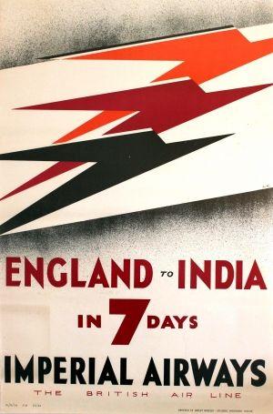 England India Imperial Airways, 1932 - original vintage travel advertising poster featuring the Art Deco Speedbird logo by Theyre Lee-Elliott (David Lee Theyre Elliott) listed on AntikBar.co.uk