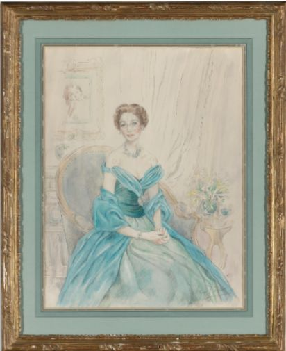 SIR CECIL BEATON, PORTRAIT OF BROOKE ASTOR signed Beaton lower right, watercolor over pencil on paper, sold by Sotheby's, 2012