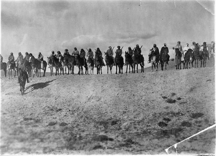 EGYPT PALESTINE 1914 - 1918 (Q 103770)   Guerrilla Operations 1918: An Arab patrol on horseback ranged against the skyline.