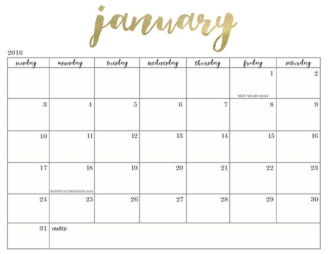 PRETTY + FREE PRINTABLE Super cute printable calendars for 2016. I love the gold.