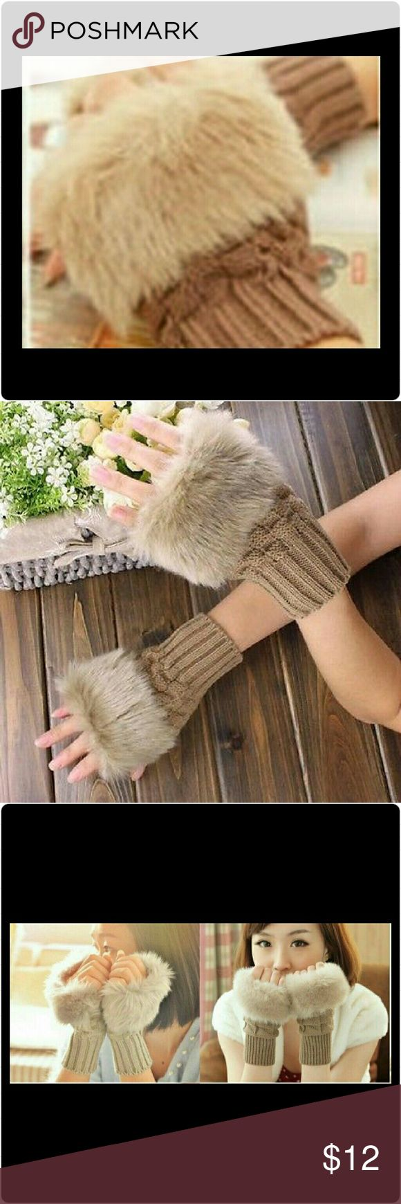 HPCAMEL FINGERLESS FUR KNITTED WOOL GLOVES BNWT - IN ORGINAL PACKAGING. CAMEL FINGERLESS FUR WRIST KNITTED WOOL GLOVES! WARM & FUN!THANKS TO @bellabboutique FOR THIS HOST PICK FOR BEST IN JEWELRY AND ACCESSORIES. Accessories Gloves & Mittens