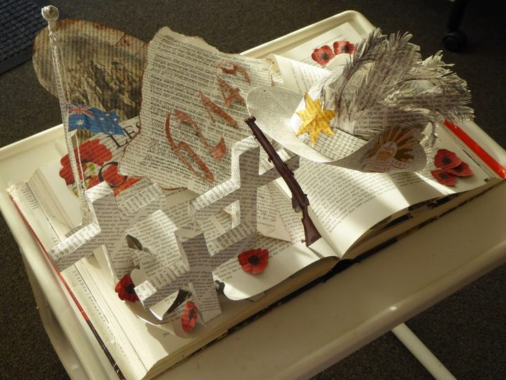 The ANZACs - Book Art creation to honour those that gave so much. Thank you.