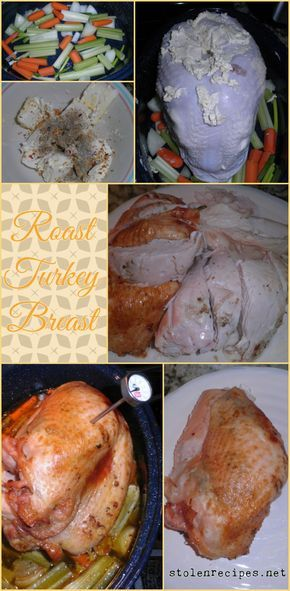 This recipe for Roast Turkey Breast is easy and straight forward. Celery, carrots and onions are used to cover the bottom of a roasting pan. A turkey breast is placed on top of the vegetables and rubbed with butter (yes, I said butter) and seasoned. The turkey is placed in the oven and roasted for about 2 hours. Using this recipe helps keeps Thanksgiving stress free.