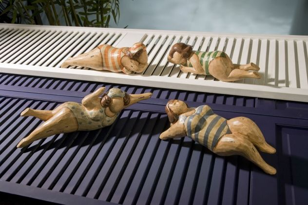 Bathing Beauties in Natural Wood - Set of 4 - These lovely ladies are out for a relaxing day at the beach. From our Regatta trend, this painted wood set of four is perfect for those with a sense of humor. Find these at country-villa-decor.com in our Beach House Inspiration Room