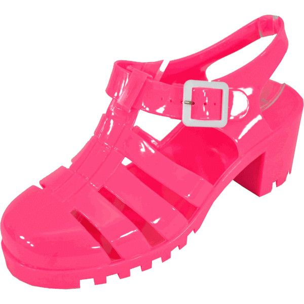 Bamboo Mirabel-01 Hot Pink Women Jelly Sandals ❤ liked on Polyvore featuring shoes, sandals, mid heel sandals, sparkly sandals, bamboo sandals, mid-heel sandals and glitter sandals
