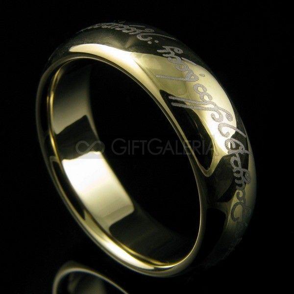 Anel Elfico de Amor e Compromisso Senhor dos Anéis Aliança em Tungstênio Ouro