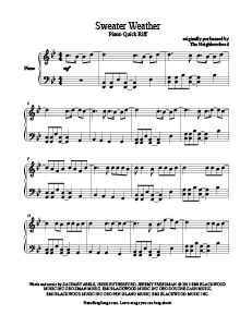 Sweater Weather - The Neighbourhood. Download tons of free piano sheet music at www.PianoBragSongs.com.
