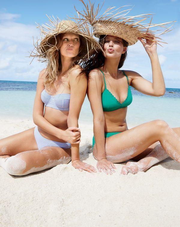 J.Crew women's underwire bikini top and bikini bottom in seersucker, scalloped French bikini top and scalloped bikini bottom in Italian matte.