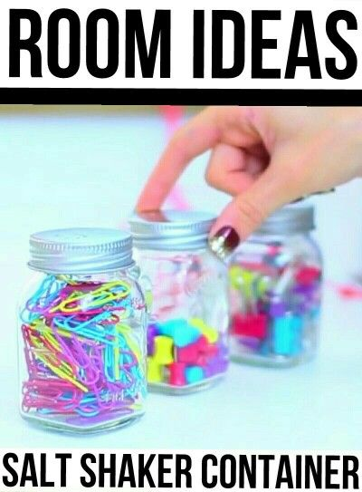 Room Ideas: Salt Shaker Container♡ Take an empty sale shaker and fill it with pins, paperclips, or erasers to have easy storage in a cute colorful way♡ Origanal idea by Maybaby♡