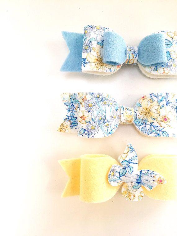 Belles boucles feutres en tissu Liberty de Londres Mme Monroe Tana Lawn et 100 % feutre de laine. Choix du jeu de 3 ou peut être acheté