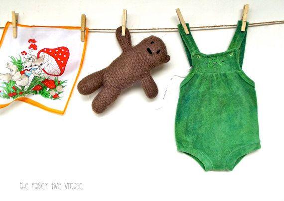 Sweet Pea . Vintage Baby Romper Sunsuit . terry cotton, green . etsyau australian wandarrah oz au australia