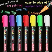 Marcador Marcadores de Tiza Líquida para La Escuela de Arte Pintura 8 Colores Redonda y Punta de Cincel 6mm 3mm envío gratis(China (Mainland))