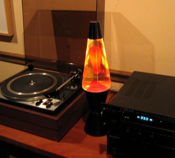 A lava lamp AND a record player...the good old days.