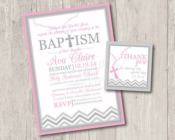 Printable : Baby girl baptism invitations with rosary & FREE matching thank you tag | digital file
