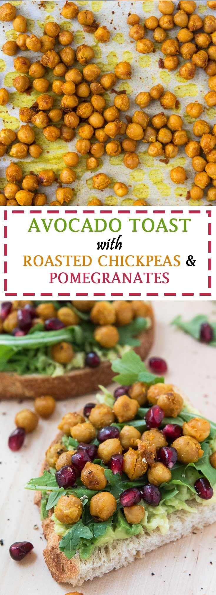 Avocado Toast Recipe with Roasted Chickpeas, Arugula, & Pomegranate Seeds #vegan #glutenfree   www.vegetariangastronomy.com