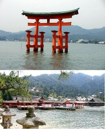 Itsukushimajinja(Hiroshima)     The only shrine in the world to have been built over the surface of the sea.※World Heritage