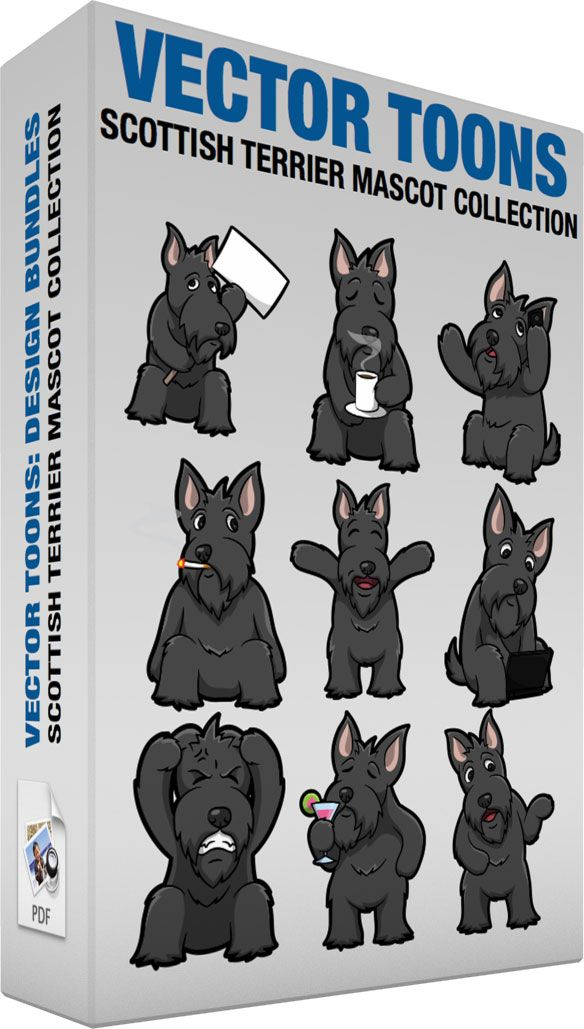 Scottish Terrier Mascot Collection :  Bundle of images includes the following:  A Scottish Terrier protesting a cause A cute bearded dog with a black long fur pinkish standing ears sitting on the floor while holding up a white cardboard with a brown stick