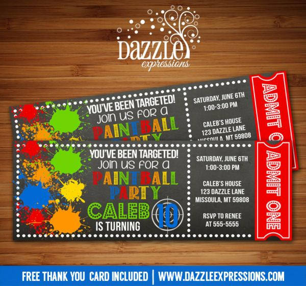 Printable chalkboard paintball ticket birthday invitation | Paint Ball | Target | Airsoft | Splatter | Digital File | Teen Party | Kids Birthday Party Idea | FREE thank you card | Party Package Available | Banner | Cupcake Toppers | Favor Tag | Food and Drink Labels | Signs |  Candy Bar Wrapper | www.dazzleexpressions.com