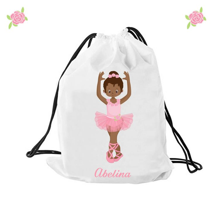 Personalized Ballet bag, Personalised drawstring bag, dance bag, swimming bag, school bag by cjcprint on Etsy