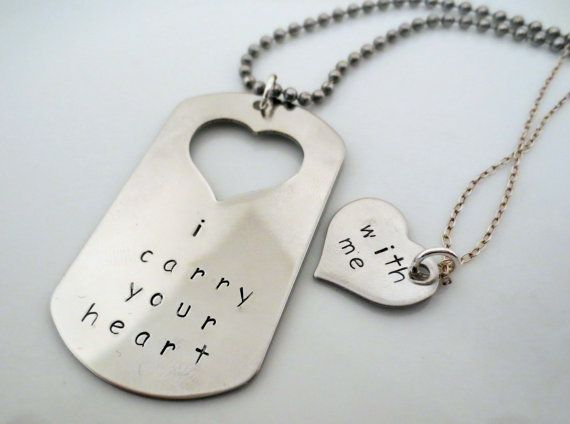 Personalized Hand Stamped Matching Necklaces - His and Hers - Couple Set- 2 pieces- I Carry Your Heart