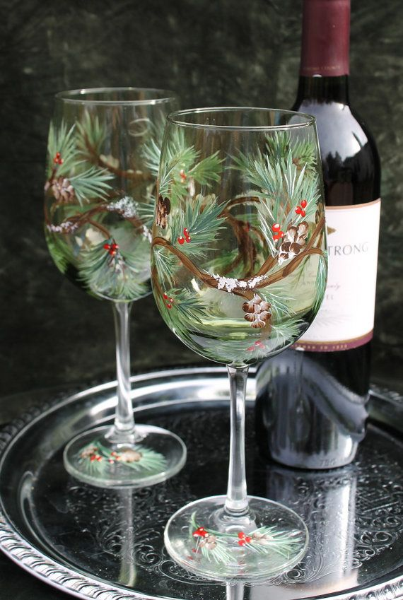 Hand Painted Wine Glasses  Winter Ferns and by SilkEleganceFlorals