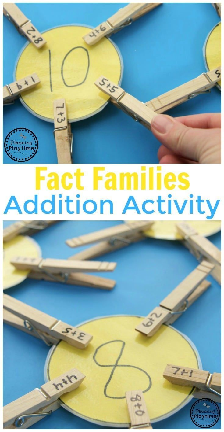 Fact Families Addition Activity for Kids. A great hands-on way to work on math with kindergarten and first-grade kids!