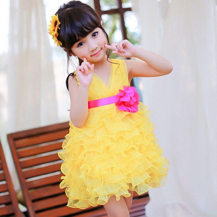 vestido de verão nova 2014 flor meninas executando v- pescoço vestido tutu princesa temperamento broto vestido frete grátis 21.00
