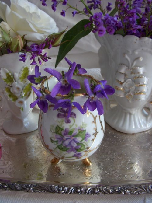 sweet violets for centerpiece...This is very dainty and Girl, girl!