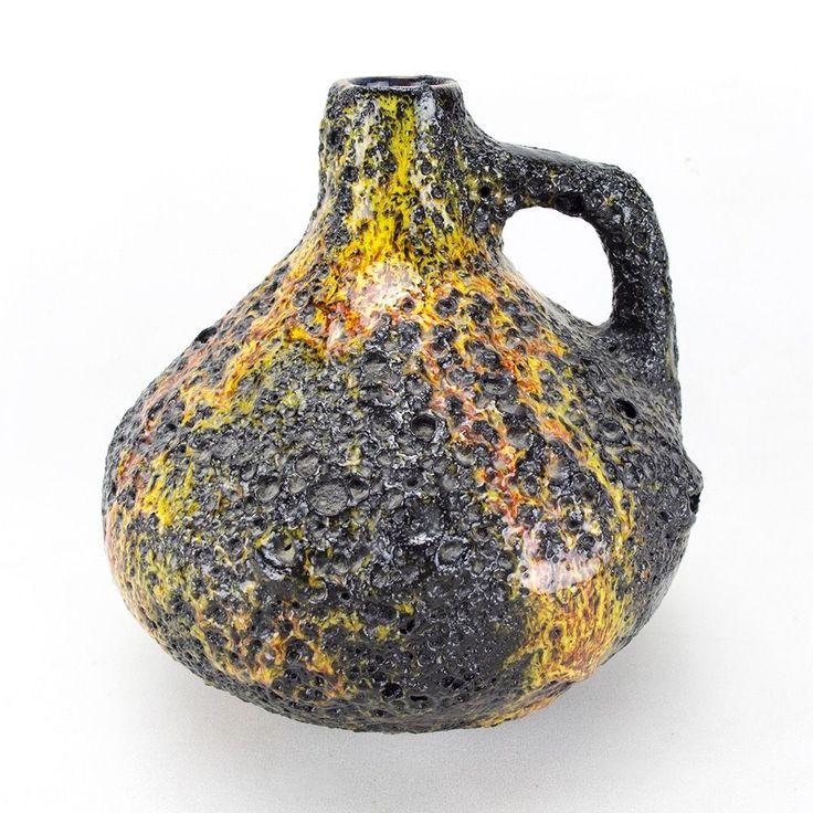 Schöne Fat Lava Vase aus den 70er Jahren von Kreutz Keramik. ÜBELACKER / Ü-KERAMIK / UEBELACKER / RELIEF / TOENNIESHOF / FAT LAVA / RETRO /. Bodenmarke / Formnummer: 405 & ?. Keramik / Pottery. Farbe: schwarz, gelb, orange, rot & grün. | eBay!