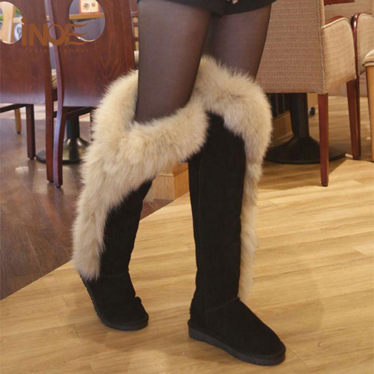 Echt Vossenbont Laarzen Zwart Leer Womens Dij Hoge Laarzen Met Bont platte Over De Knie Tall Snowboots Winter Schoenen Vrouw Maat 44
