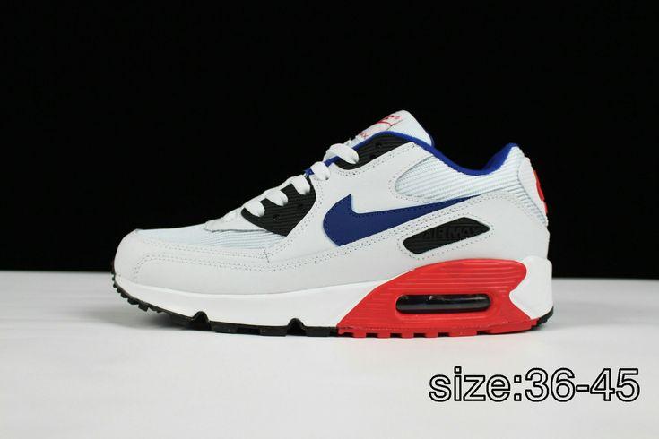 78$White black blue 36-4518 new Nike AIR MAX 90 ESSENTIAL men's ...