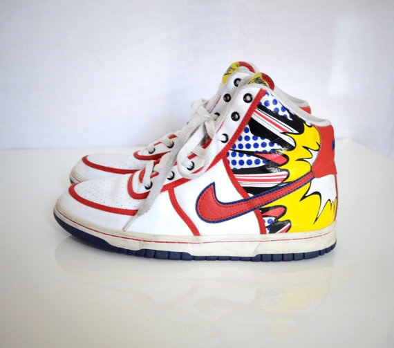 Vintage 1980 Nike high top shoes comic by ElectricPinkVintage. , via Etsy.