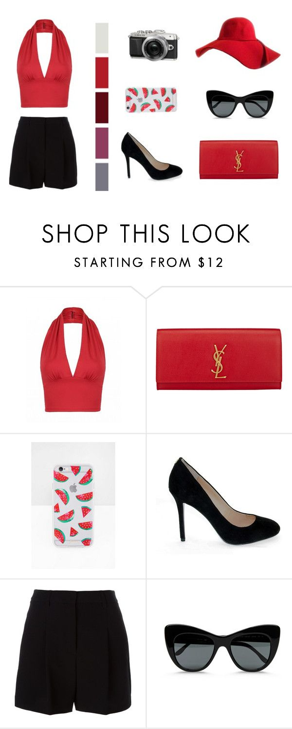 """""""Red is the new black"""" by fantalisa on Polyvore featuring moda, Yves Saint Laurent, Sonix, GUESS, Retrò, DKNY e STELLA McCARTNEY"""