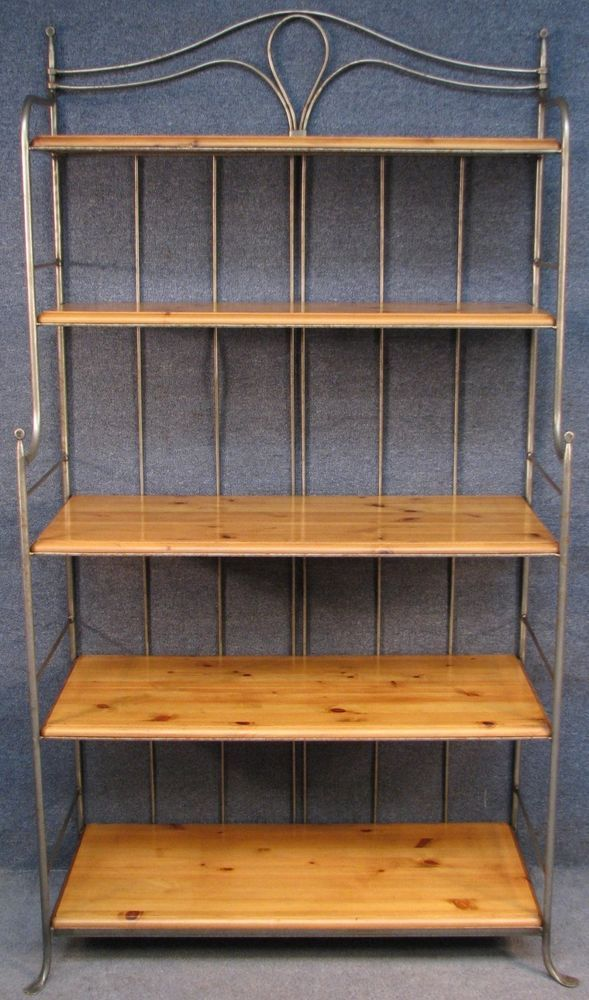 Ducal Solid Pine Steel 5 Tier Bakers Rack Kitchen Shelves
