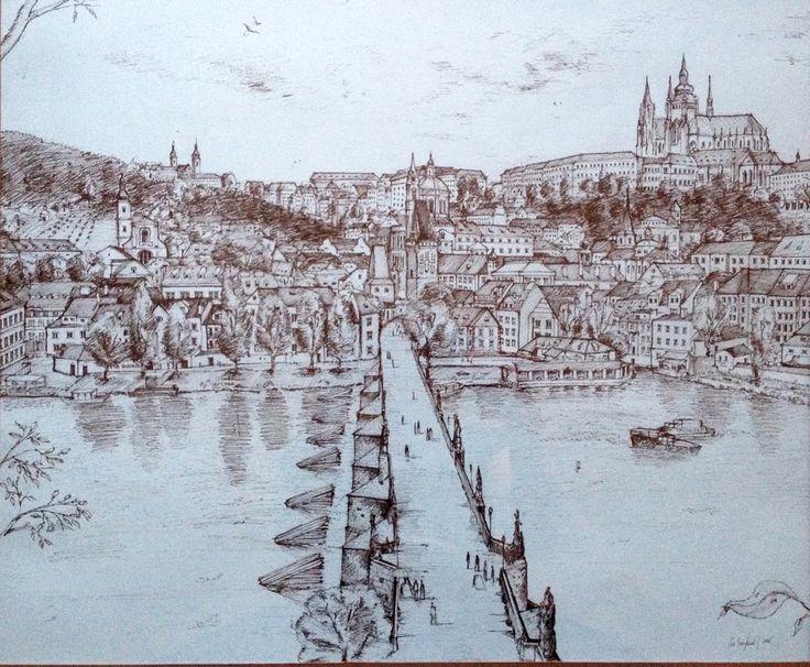 Prague - Charles Bridge, ink drawing, svejkovsky.ivo@gmail.com Instagram: ivo_svejkovsky